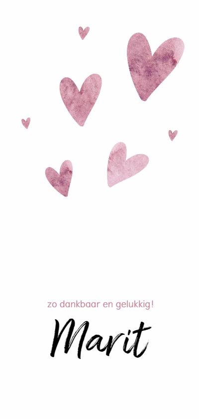 Geboortekaartjes - Roze waterverf hartjes