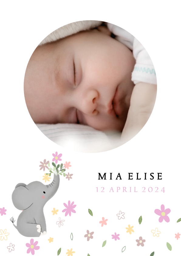 Geboortekaartjes - Schattig geboortekaartje met olifantje en bloemetjes