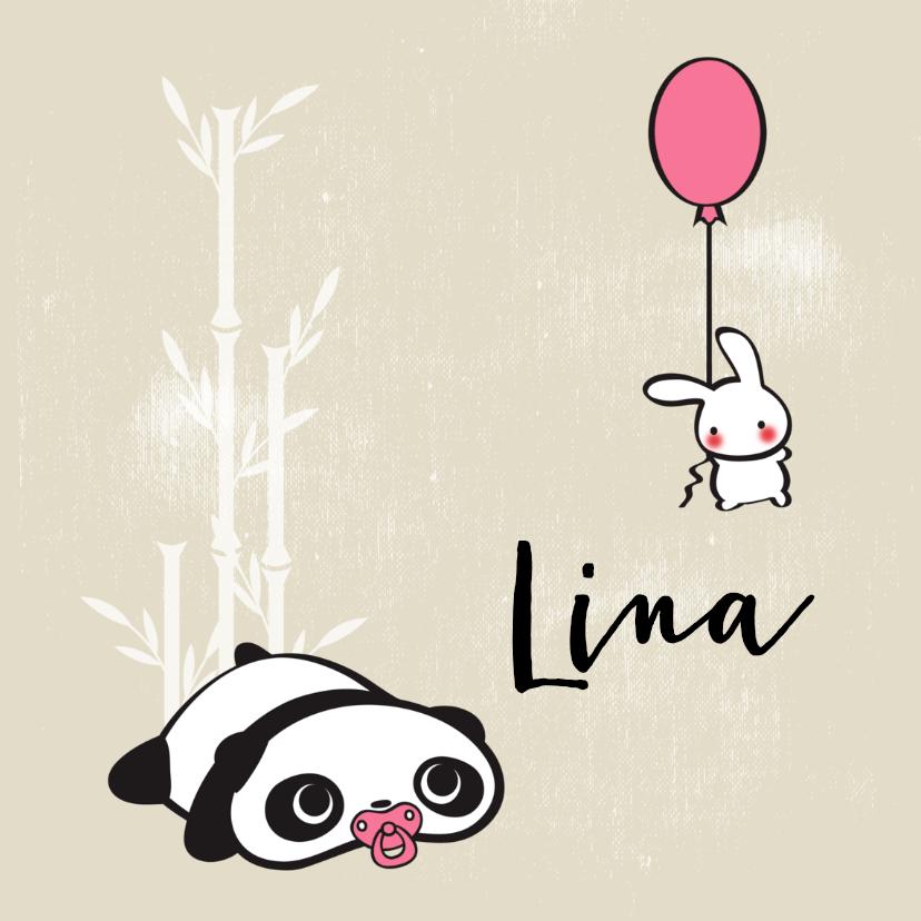 Geboortekaartjes - Schattig panda en konijn met ballon
