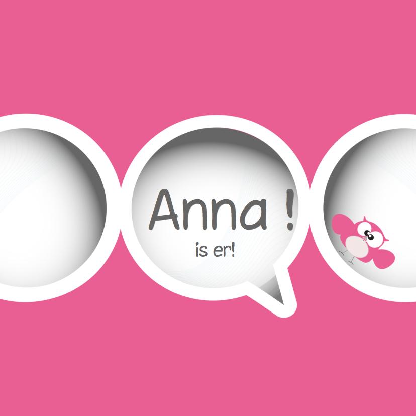 Geboortekaartjes - Schattige geboortekaart  met cirkels en uiltjes van Mo Cards