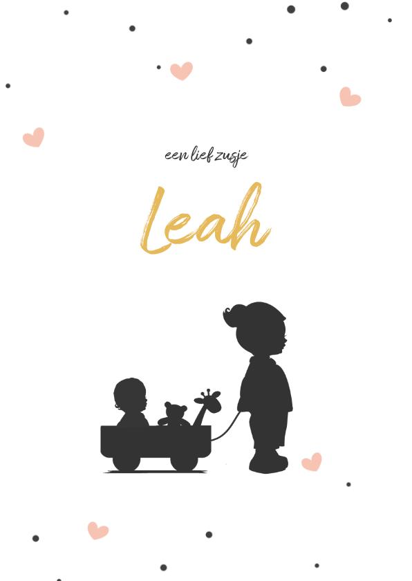 Geboortekaartjes - Silhouet geboortekaartje met een grote zus en baby in kar