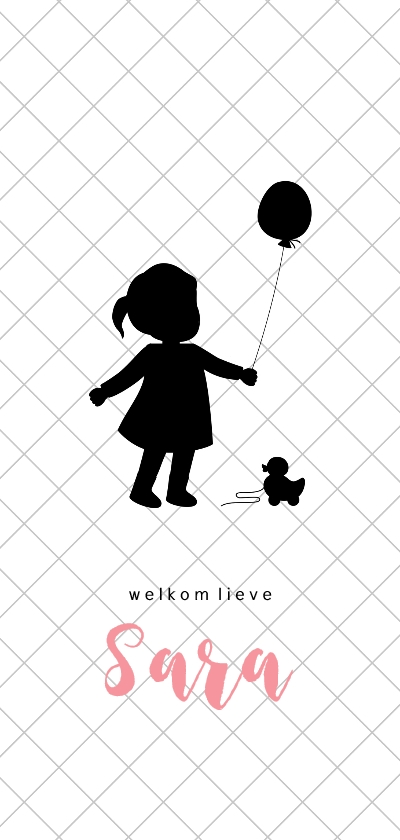 Geboortekaartjes - Silhouet geboortekaartje met meisje en ballon