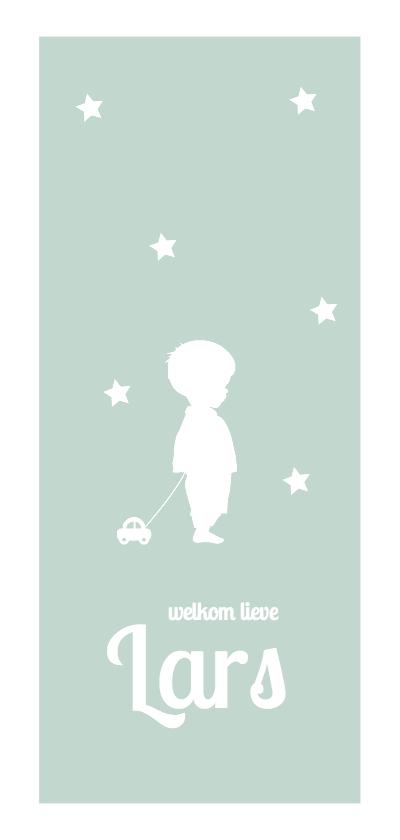 Geboortekaartjes - Silhouet kaartje jongen met autootje