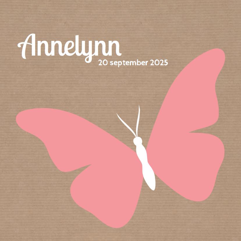 Geboortekaartjes - Silhouetten - vlinder roze - DH