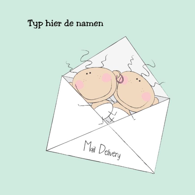Geboortekaartjes - Special Mail Delivery tweeling