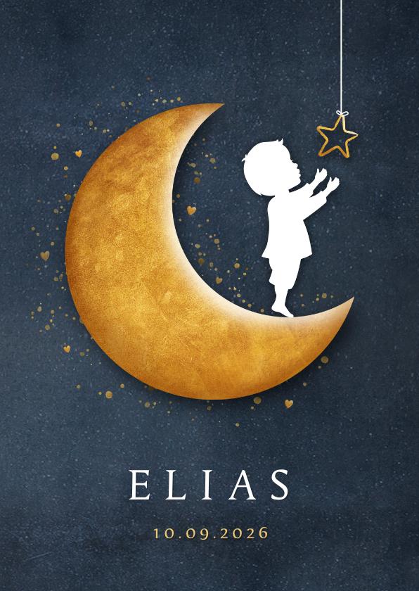 Geboortekaartjes - Staand geboortekaartje met een silhouet van jongen op maan