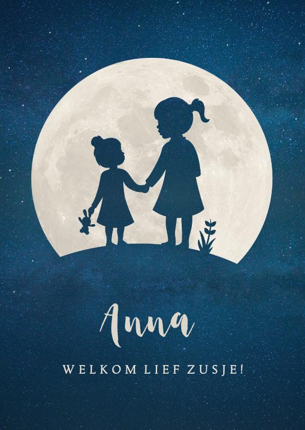Geboortekaartjes - Staand geboortekaartje met silhouet van 2 zusjes in de maan