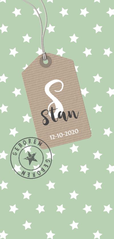 Geboortekaartjes - Staand sterren groen