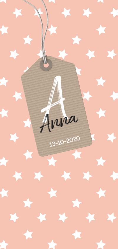 Geboortekaartjes - Sterren roze staand