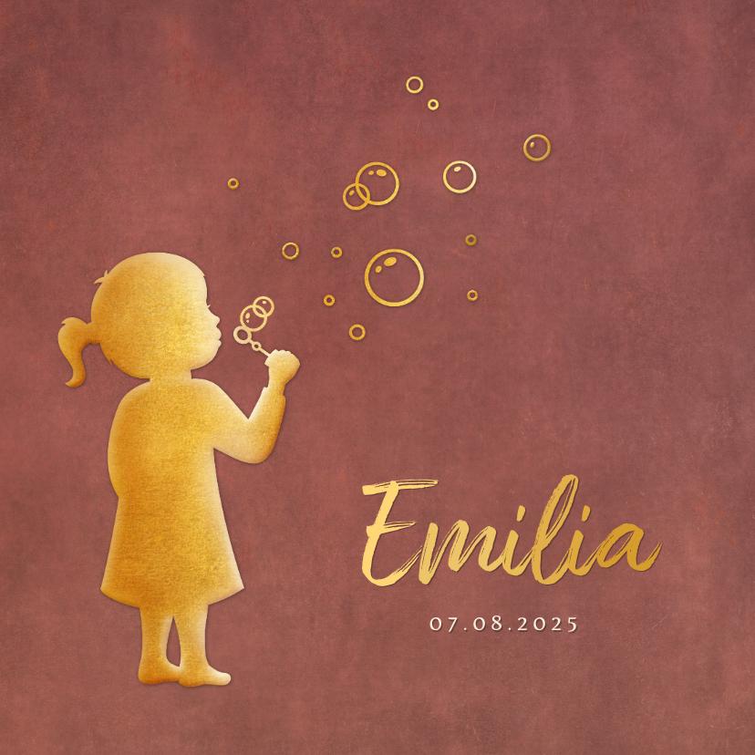 Geboortekaartjes - Stijlvol geboortekaartje meisje met bellenblaas silhouet