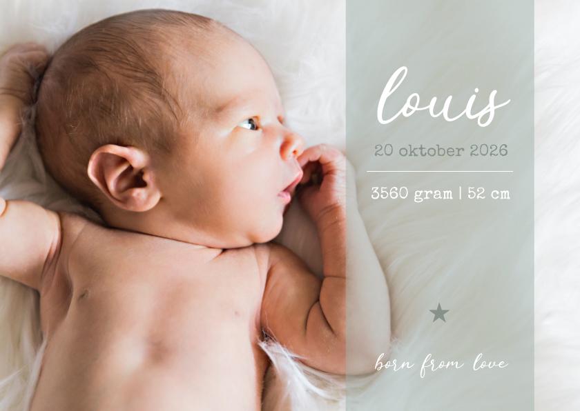 Geboortekaartjes - Stijlvol geboortekaartje met grote foto