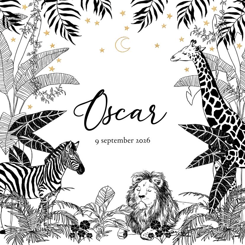 Geboortekaartjes - Stijlvol geboortekaartje met jungledieren in zwart/wit