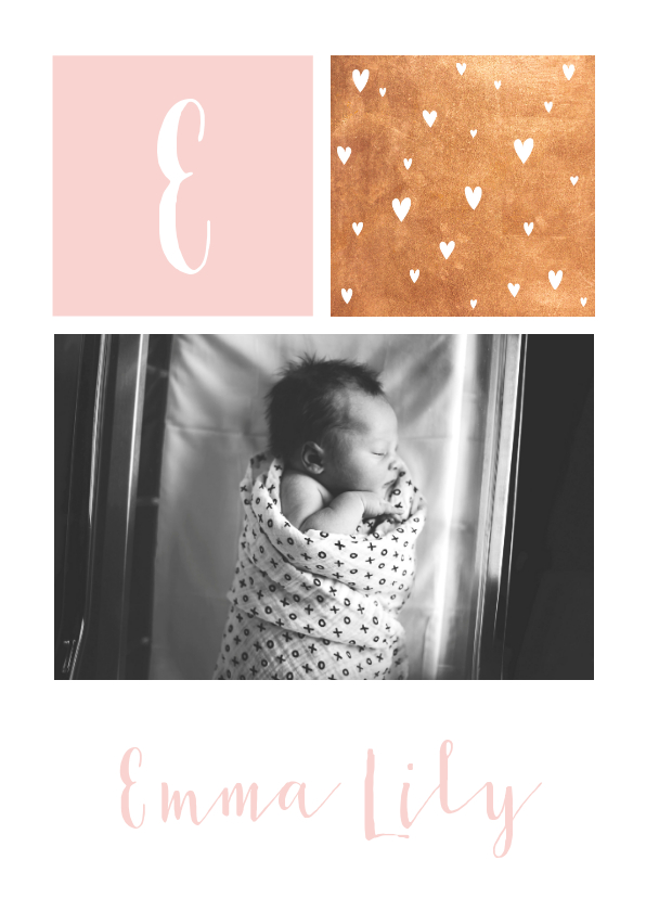 Geboortekaartjes - Stijlvol geboortekaartje met letter, goudlook en eigen foto