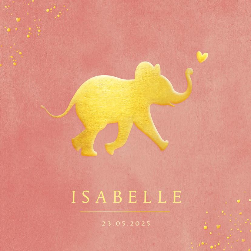 Geboortekaartjes - Stijlvol geboortekaartje met silhouet van olifant in goud