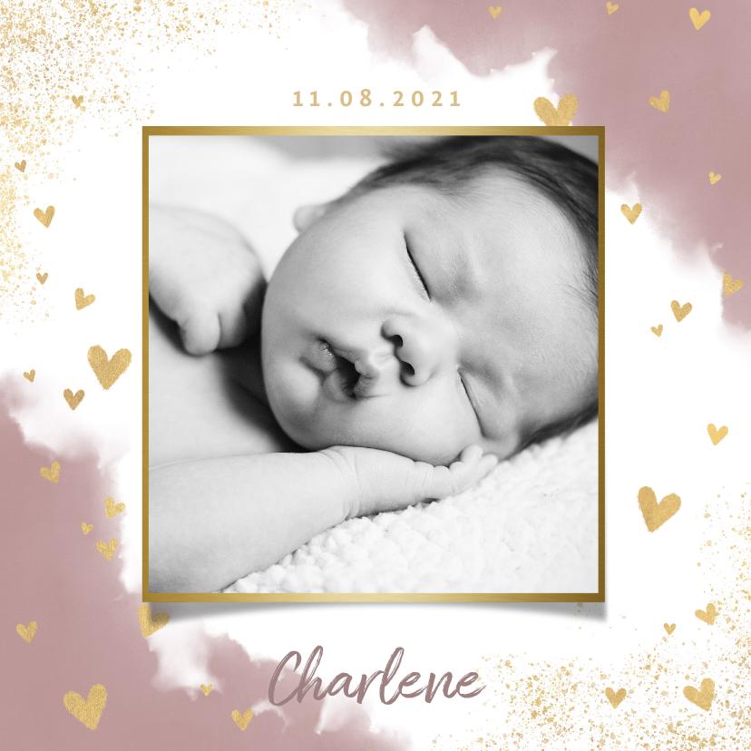 Geboortekaartjes - Stijlvol geboortekaartje met waterverf, hartjes en spetters