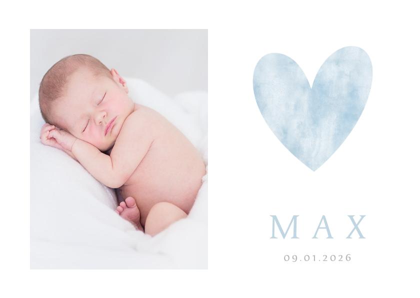 Geboortekaartjes - Stijlvol minimalistisch geboortekaartje met hart en foto