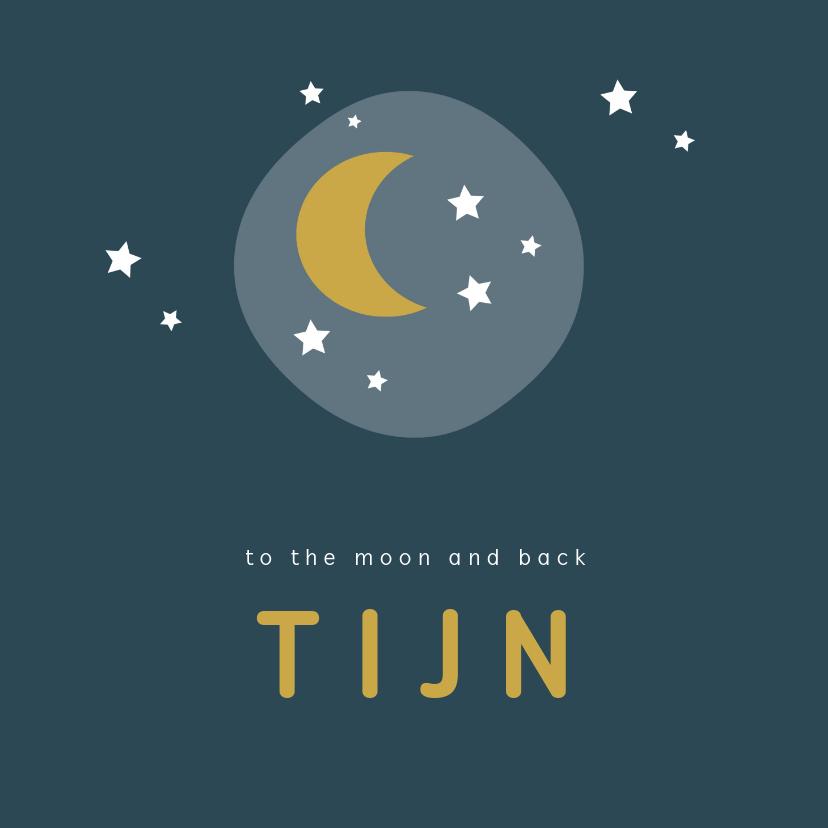 Geboortekaartjes - Stoer donkerblauw geboortekaartje met maan en sterretjes
