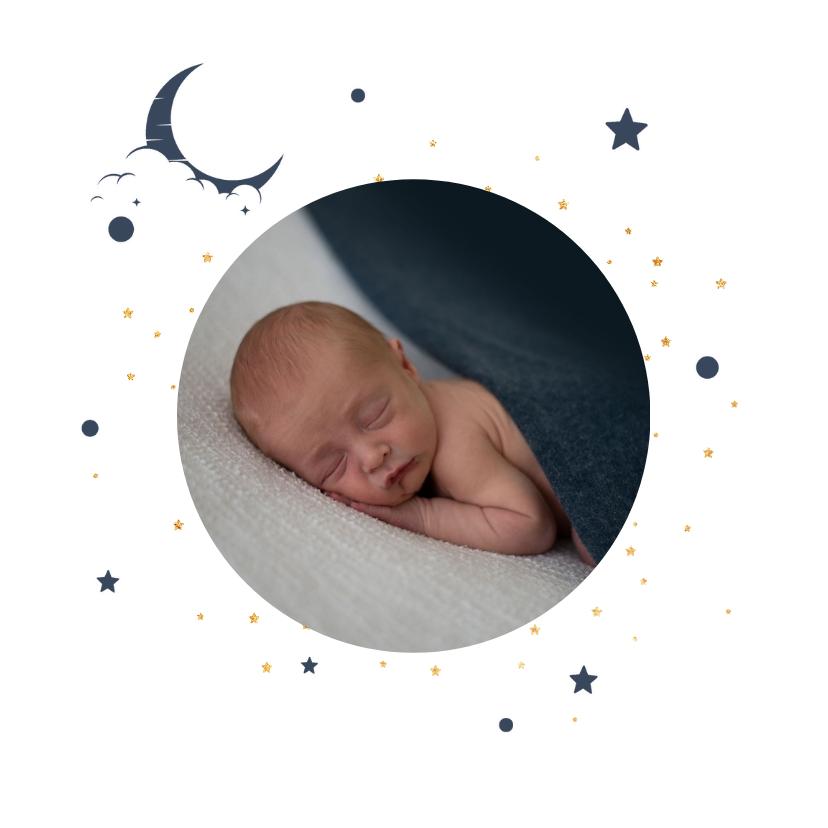 Geboortekaartjes - Stoer geboortekaartje goudlook met blauwe sterren en maan