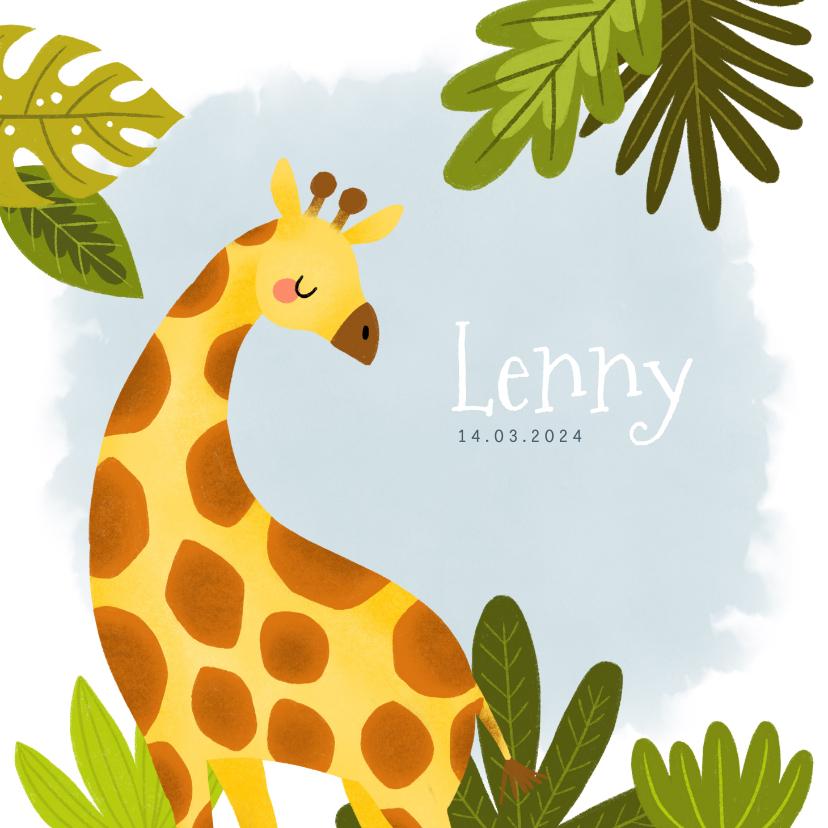 Geboortekaartjes - Stoer geboortekaartje met giraffe, plantjes en waterverf