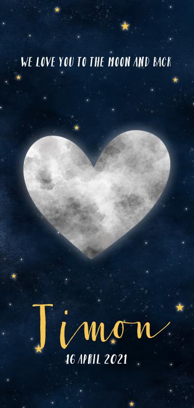 Geboortekaartjes - Stoer geboortekaartje met hartvormige maan, sterren & heelal