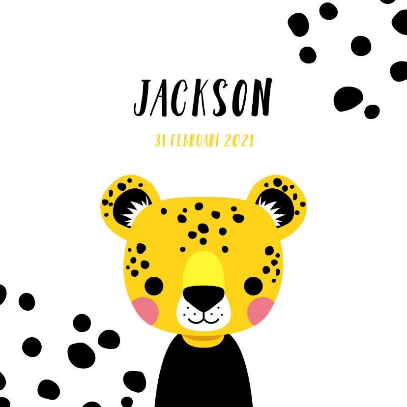 Geboortekaartjes - Stoer geboortekaartje met luipaard en zwarte vlekken