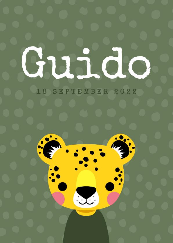 Geboortekaartjes - Stoer geboortekaartje met luipaard voor een jongen