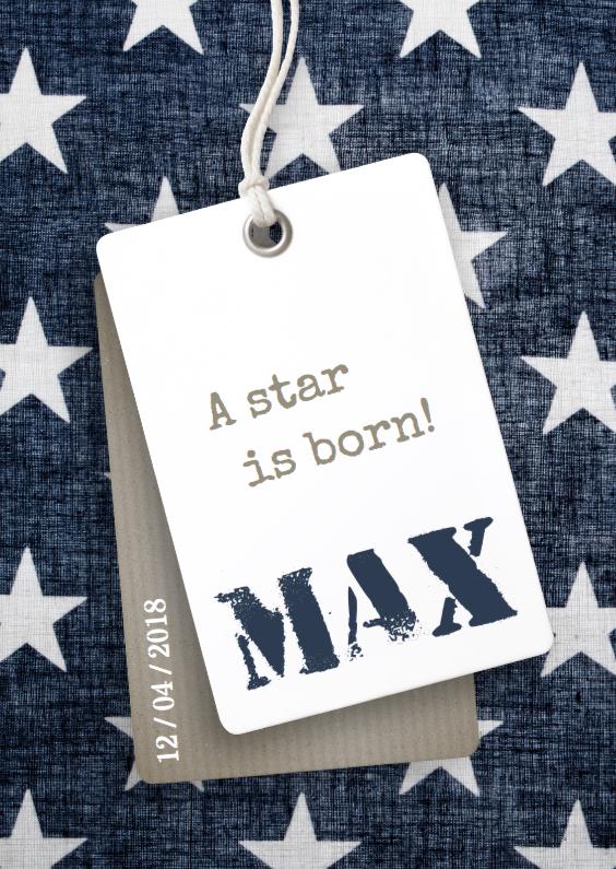 Geboortekaartjes - Stoer geboortekaartje met sterren