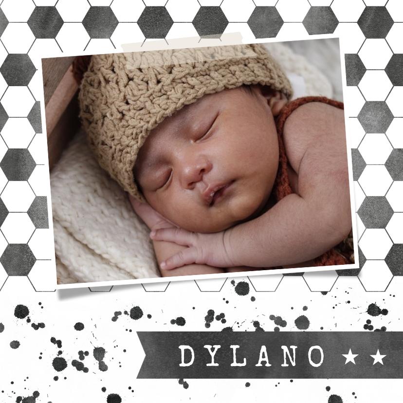 Geboortekaartjes - Stoer voetbal geboortekaartje met spetters en foto