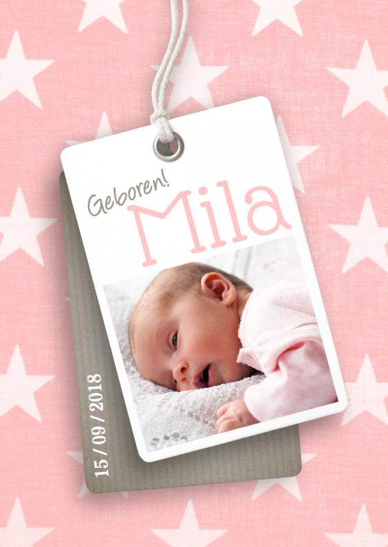 Geboortekaartjes - Stoere geboortekaart voor een meisje