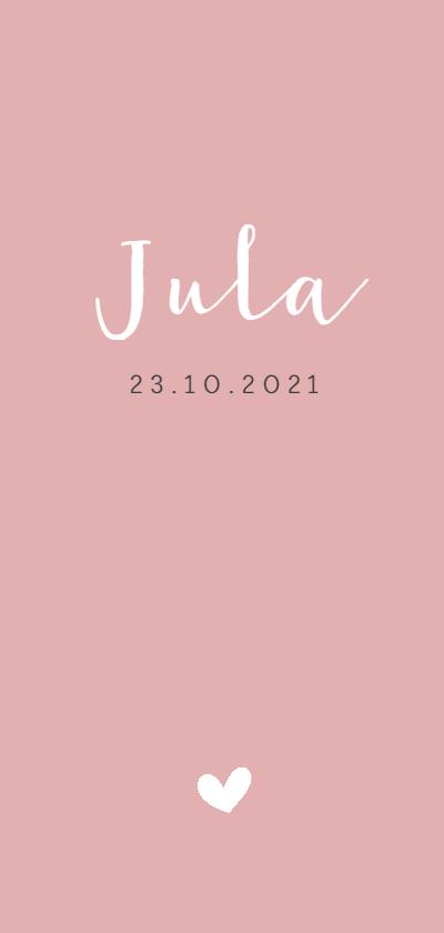 Geboortekaartjes - Strak roze geboortekaartje met een wit hartje