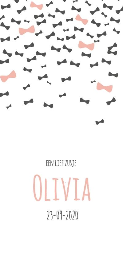 Geboortekaartjes - Strikjesregen roze en grijs