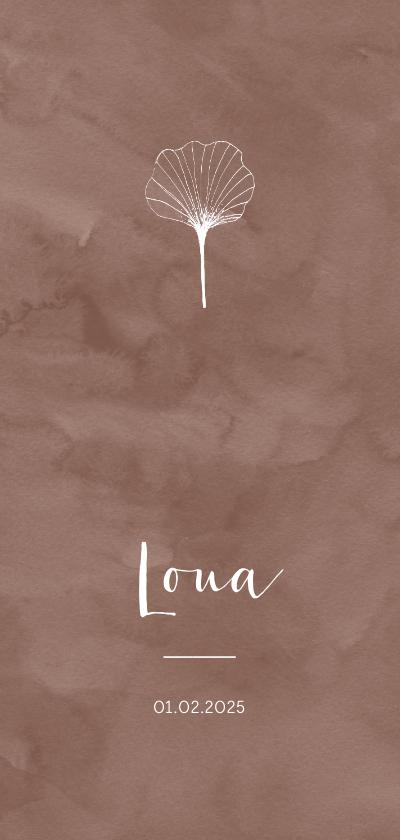 Geboortekaartjes - Trendy botanisch geboortekaartje bruin watercolour