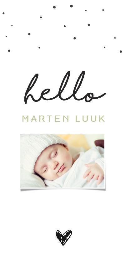 Geboortekaartjes - Trendy fotokaart Hello