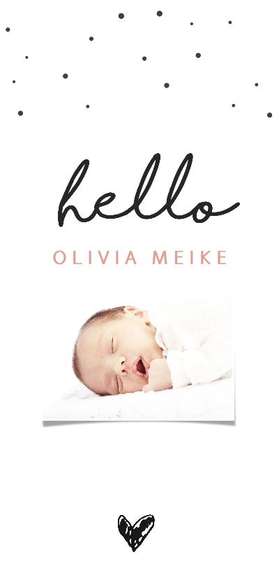 Geboortekaartjes - Trendy fotokaartje met hello