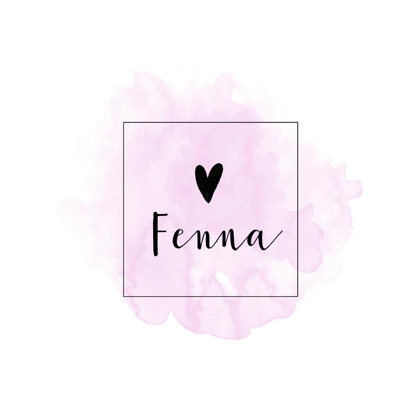 Geboortekaartjes - Trendy geboortekaart voor een meisje met roze waterverf