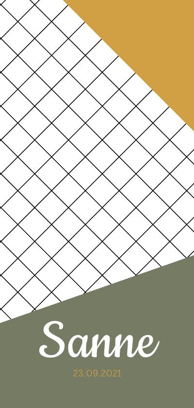 Geboortekaartjes - Trendy geboortekaartje met ruiten en geometrische vlakken