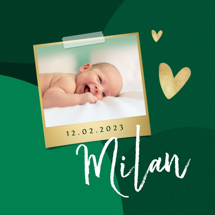 Geboortekaartjes - Trendy geboortekaartje stijlvol hartje goud groen foto