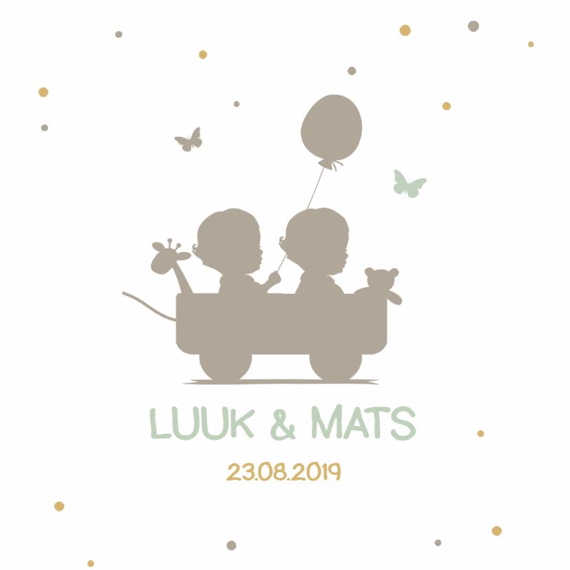 Geboortekaartjes - Tweeling geboortekaart silhouet