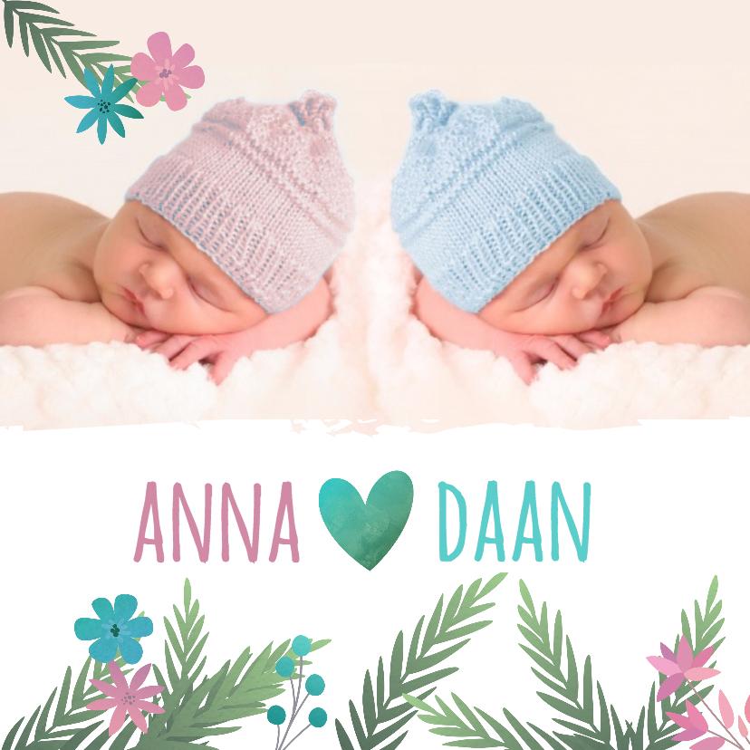 Geboortekaartjes - Tweeling jongen meisje met takjes