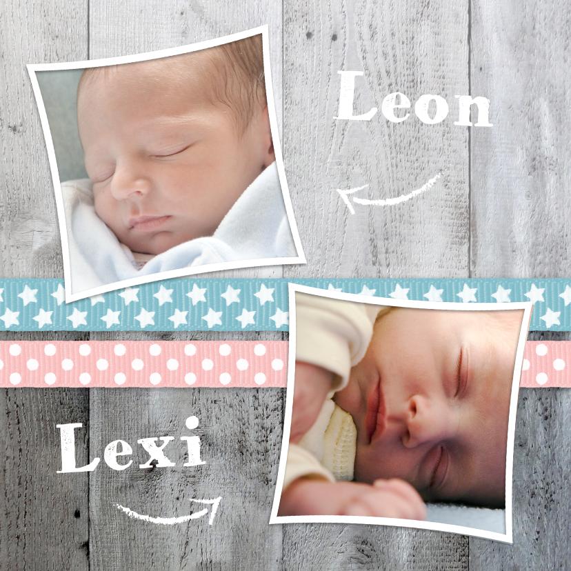 Geboortekaartjes - Tweeling Lief Hout Jongen Meisje