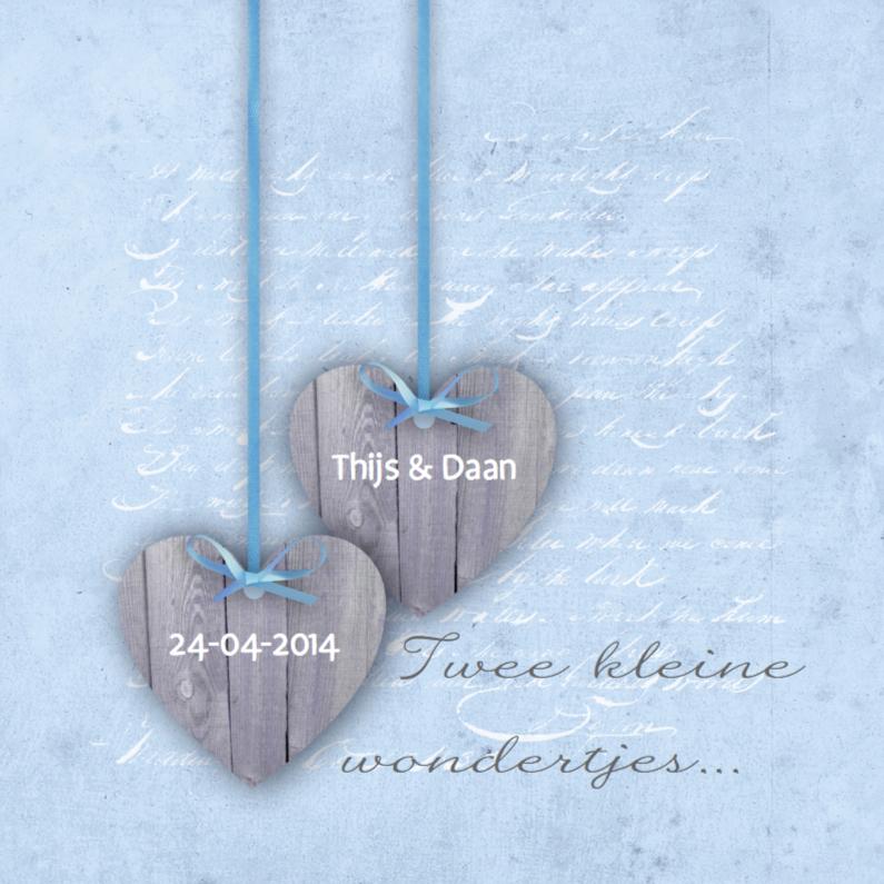 Geboortekaartjes - Tweeling Two Hearts Blauw