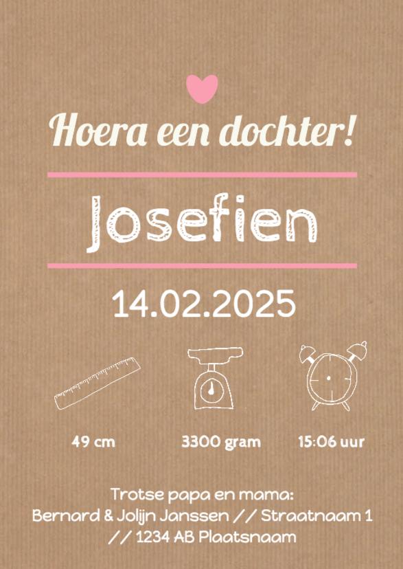 Geboortekaartjes - Typografie roze hartje - DH
