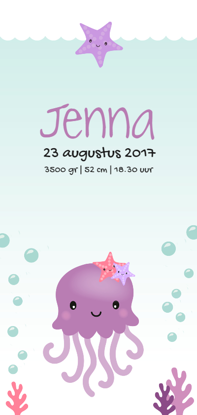 Geboortekaartjes - Under the sea Inktvis