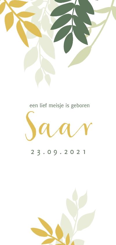 Geboortekaartjes - Unisex geboortekaartje met gele en groen takjes