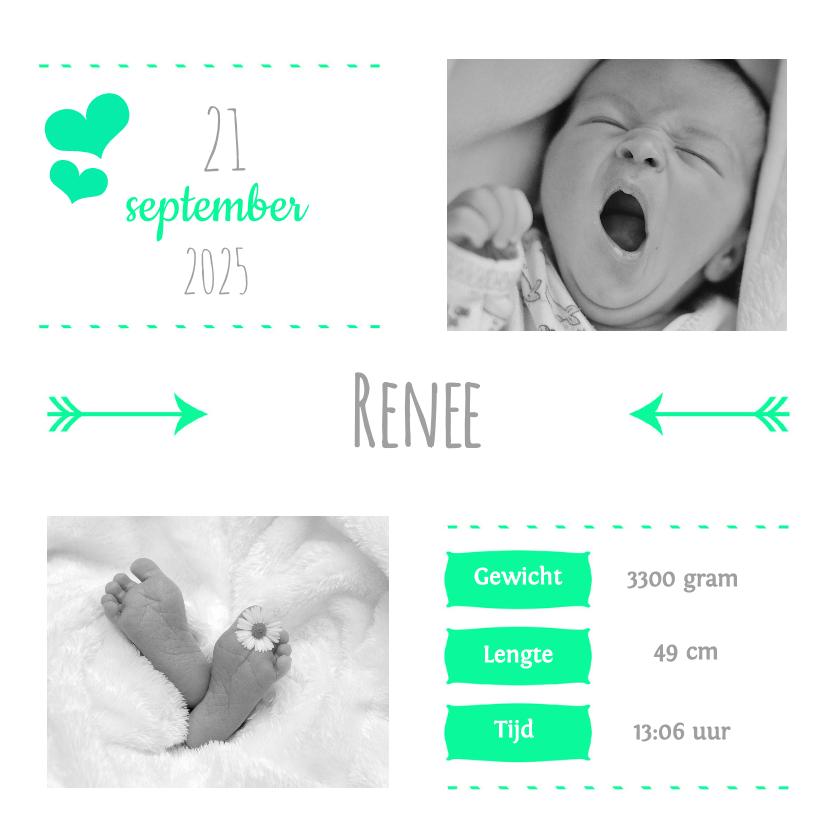 Geboortekaartjes - Vierkant 2 foto's groen - DH