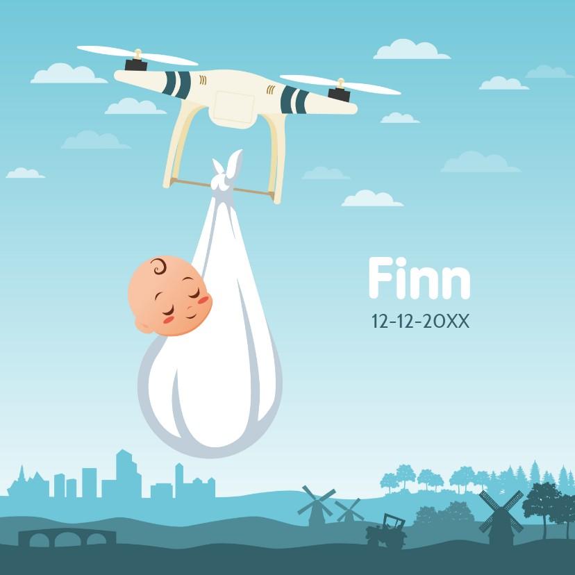 Geboortekaartjes - Vierkant Gender Neutraal geboortekaartje met Drone