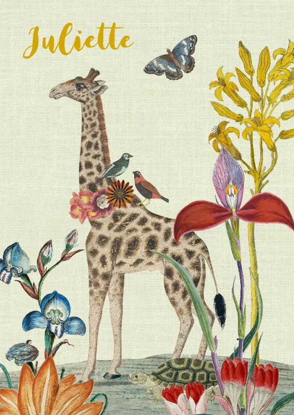 Geboortekaartjes - Vintage geboortekaartje met giraffe en bloemen