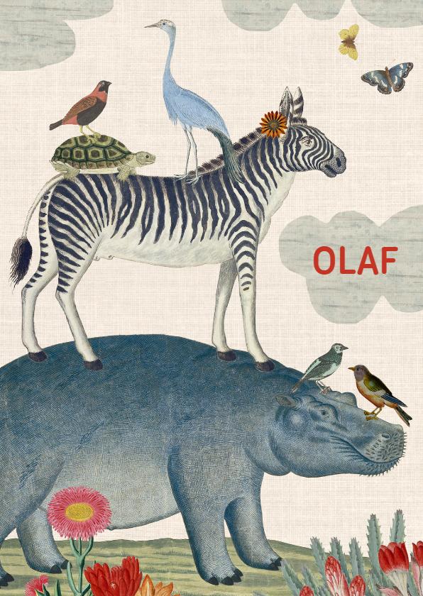 Geboortekaartjes - Vintage geboortekaartje met vrolijke stapel van dieren