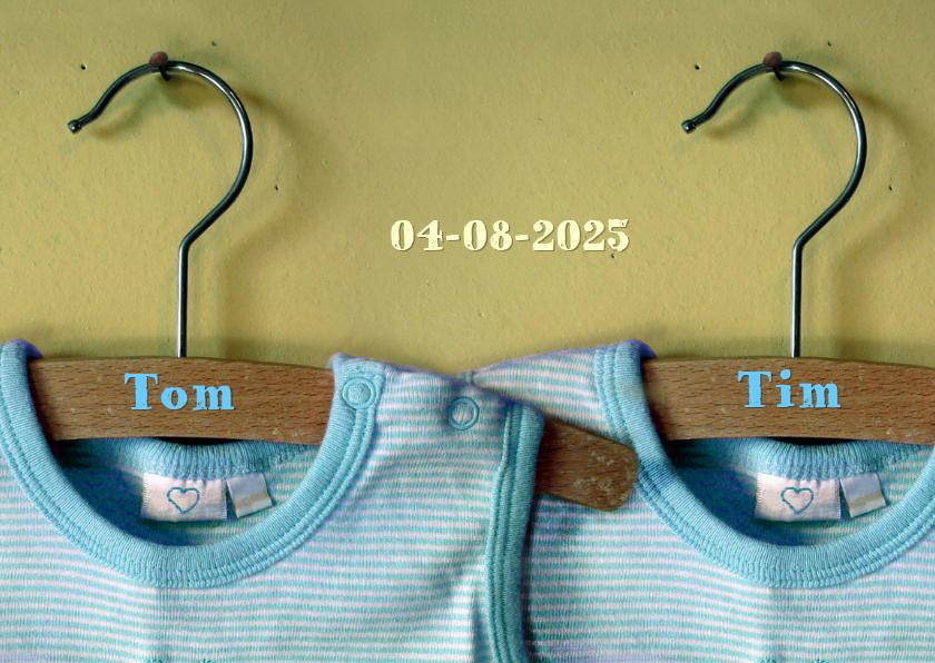 Geboortekaartjes - vintage romper twin boys Tom en Tim