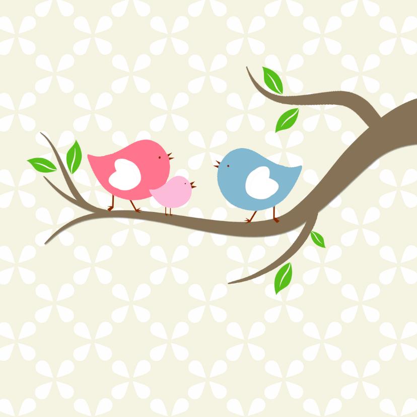 Geboortekaartjes - Vogeltjes met baby-vogel roze
